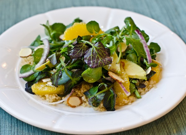 Quinoa salad with watercress, oranges, avocado, and almonds, with ...