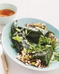 Quinoa-stuffed poblanos with grilled romesco sauce