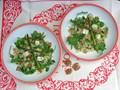 Quinoa, watercress, walnut and blue cheese salad with roasted asparagus