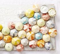 Rainbow rippled meringues
