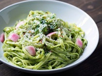 Ramp pesto pasta with pickled onions