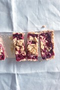 Raspberry and rhubarb crumb tart