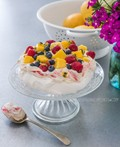Raspberry swirl Pavlova with summer fruits