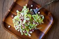 Raw sweet corn and asparagus salad