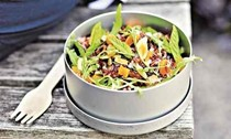 Red Camargue rice with mint and almonds