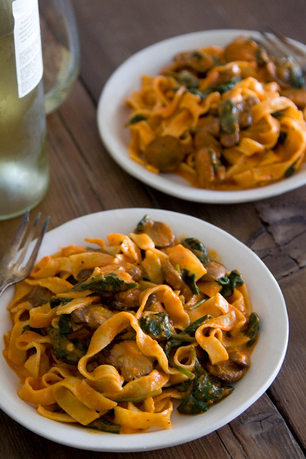 Red Pepper Pasta With Mushrooms And Spinach Recipe — Dishmaps