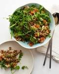Red rice and quinoa salad with orange and pistachio