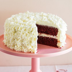 Red velvet cake with lemon cream cheese frosting (page 51)