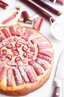 Rhubarb and custard brioche tart