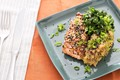 Rice flake-crusted salmon with miso-smashed Japanese sweet potatoes & mustard greens
