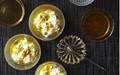 Rice pudding with honey, orange and cardamom syrup