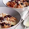 Rice pudding with raisin custard