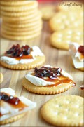 Ritz® snack with cream cheese and red bell pepper ancho chili jam