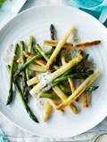 Roast asparagus salad with sour cream and chive dressing