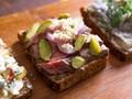 Roast beef, pickle, and horseradish smørrebrød (Danish open-faced sandwich)