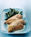 Roast chicken and asparagus with tahini sauce