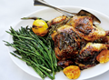 Roast chicken with rhubarb butter and asparagus