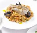 Roast cod with paella & saffron olive oil
