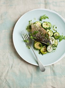 Roast fish with dill butter and zucchini