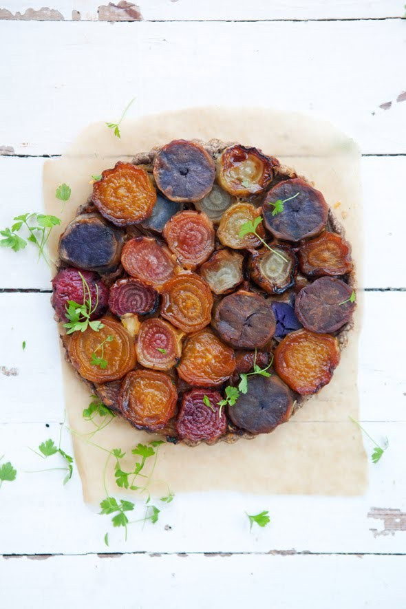 Roasted beet and purple potato tarte Tatin with caramelized fennel and ...