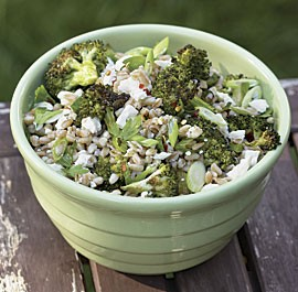 Roasted broccoli and farro salad with feta