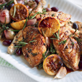 Roasted chicken with lemon, white wine and olives