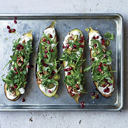 Roasted eggplant with pomegranate, pickled chiles, and pecans (page 76 ...