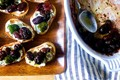 Roasted grape and olive crostini