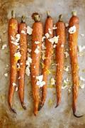 Roasted heirloom carrots with feta, truffle and lemon zest