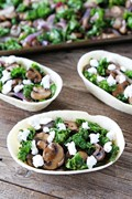 Roasted mushroom, kale, and goat cheese tacos