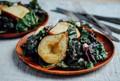Roasted pear and rainbow chard salad