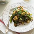 Roasted potato and asparagus lentil salad with tangy mustard-lemon dressing