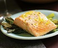 Roasted salmon and asparagus with lemon oil