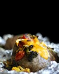 Roasted vegetable baked potatoes with cheddar