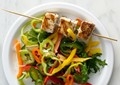 Rosemary swordfish skewers with sweet pepper salad
