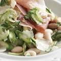 Salad of beans, raw asparagus and Parma ham