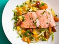 Salmon à la nage with summer vegetables