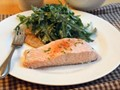 Salmon baked on aromatic salt