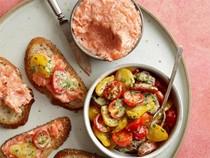 Salmon rillettes with tomato salad