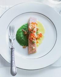 Salmon with pea-wasabi puree and yuzu