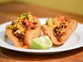 San Antonio-style puffy tacos with ground beef filling