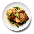 Sauteed chicken with asparagus and mustard