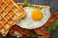 Savory cheddar waffle BLT with egg