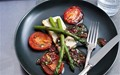 Savoury baked ricotta with asparagus, roast tomatoes and black-olive dressing