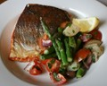 Sea trout with potato, asparagus and cherry tomato salad