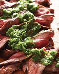 Seared steak with ramp chimichurri