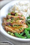 Seared teriyaki pork tenderloin with wasabi-gingered soy sauce
