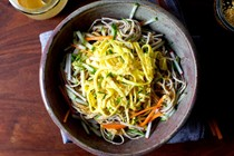 Sesame soba and ribboned omelet salad