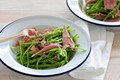 Shaved snow pea and ham salad