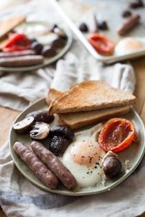 "Sheet-pan ""half English"" breakfast"